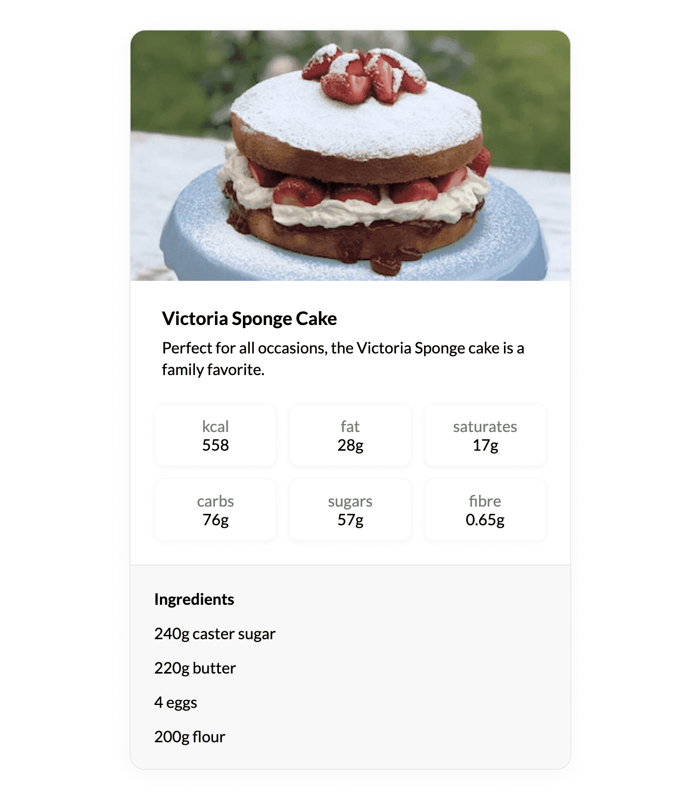 Recipe card in the browser with correct spacing
