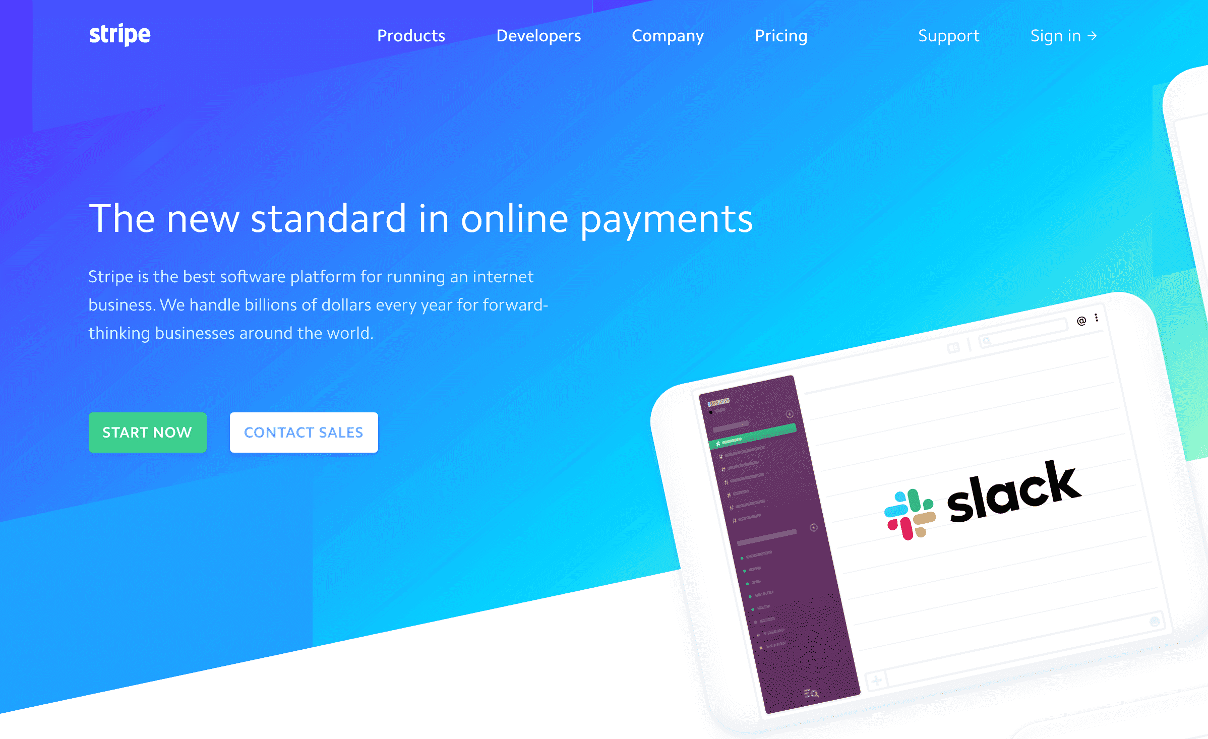 Screenshot of Stripe's homepage